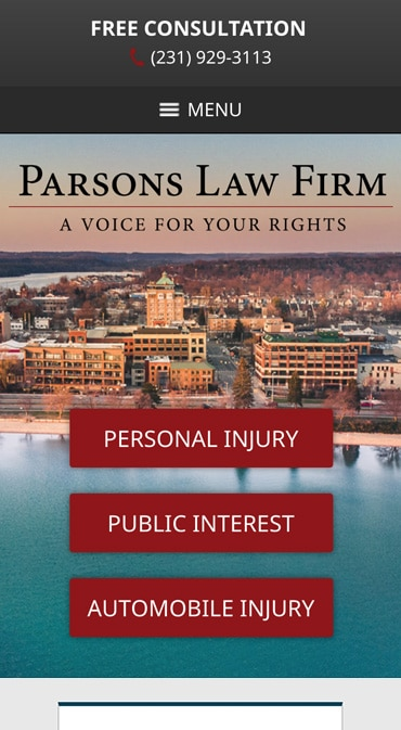 Responsive Mobile Attorney Website for Parsons Law Firm PLC
