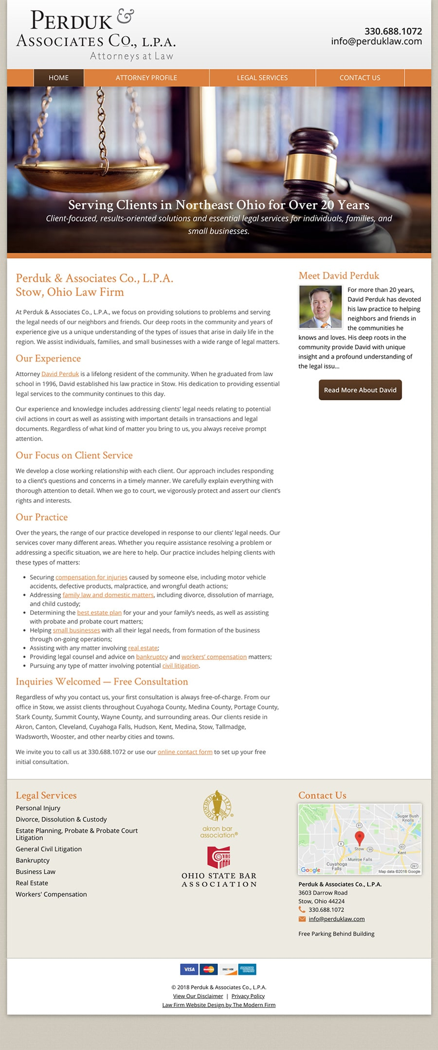 Oh Law Firm >> Stow Oh Law Firm Website Design By The Modern Firm