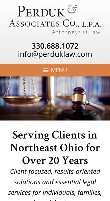 Responsive Mobile Attorney Website for Perduk & Associates Co., L.P.A.