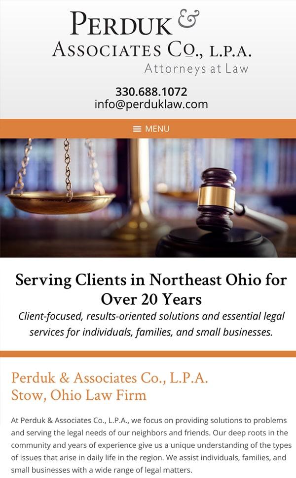 Mobile Friendly Law Firm Webiste for Perduk & Associates Co., L.P.A.
