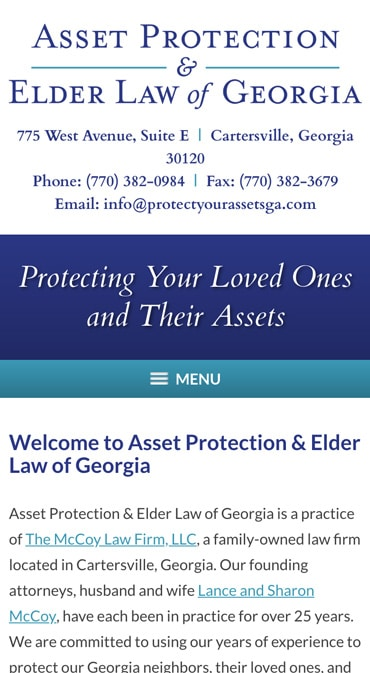 Responsive Mobile Attorney Website for Asset Protection & Elder Law of Georgia
