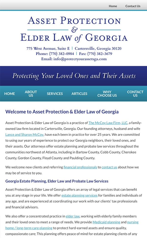 Mobile Friendly Law Firm Webiste for Asset Protection & Elder Law of Georgia