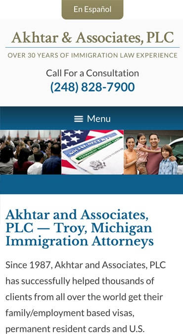 Responsive Mobile Attorney Website for Akhtar and Associates, PLC