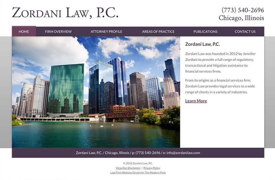 Law Firm Website Design for Zordani Law, P.C.