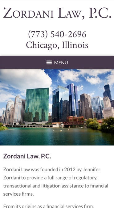 Responsive Mobile Attorney Website for Zordani Law, P.C.