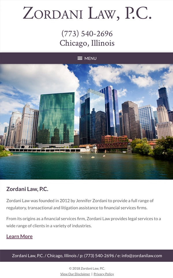 Mobile Friendly Law Firm Webiste for Zordani Law, P.C.