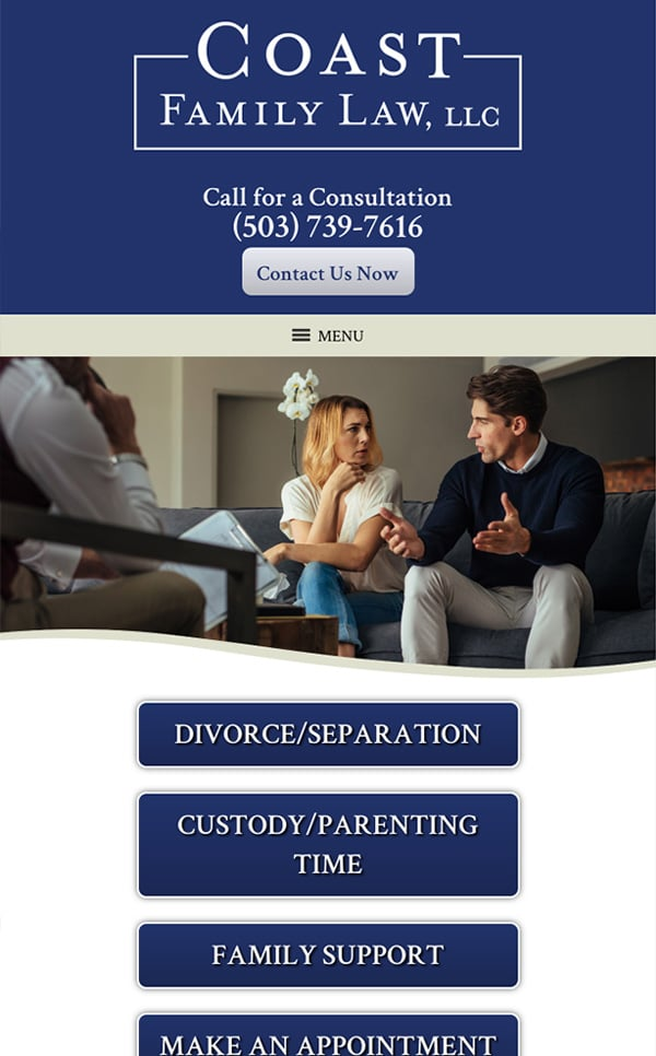 Mobile Friendly Law Firm Webiste for Coast Family Law, LLC
