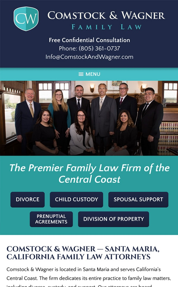 Mobile Friendly Law Firm Webiste for Comstock & Wagner
