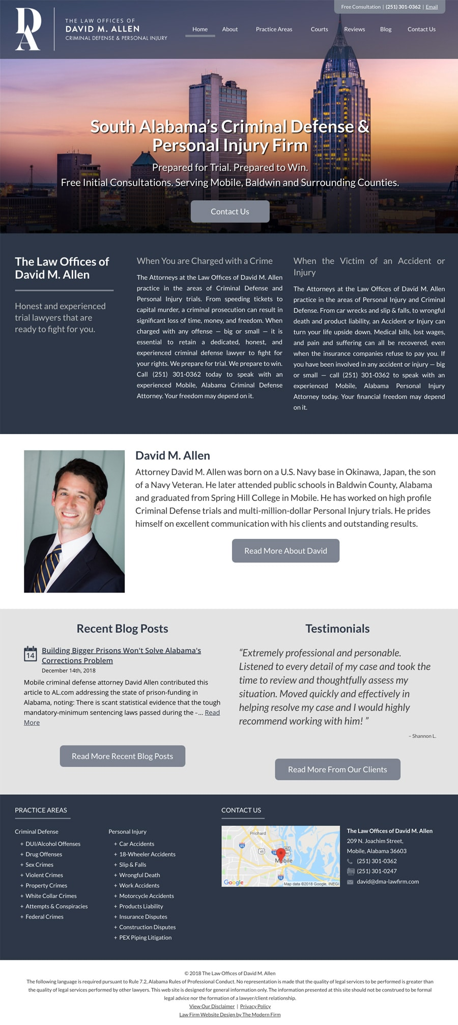 Law Firm Website Design for The Law Offices of David M. Allen