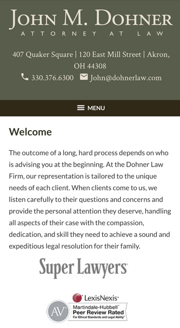 Responsive Mobile Attorney Website for John M. Dohner
