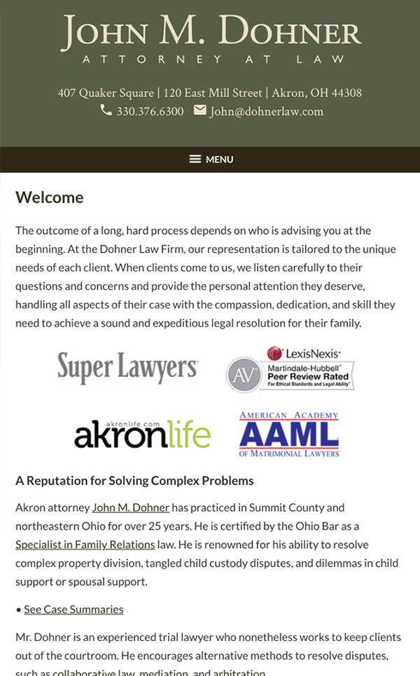 Mobile Friendly Law Firm Webiste for John M. Dohner