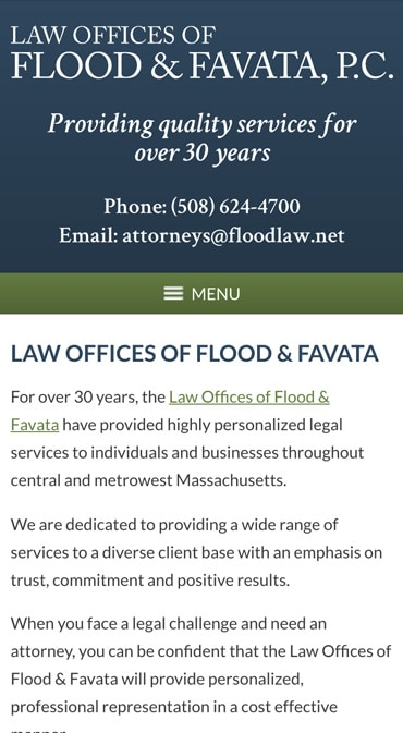 Responsive Mobile Attorney Website for Law Offices of Flood & Favata
