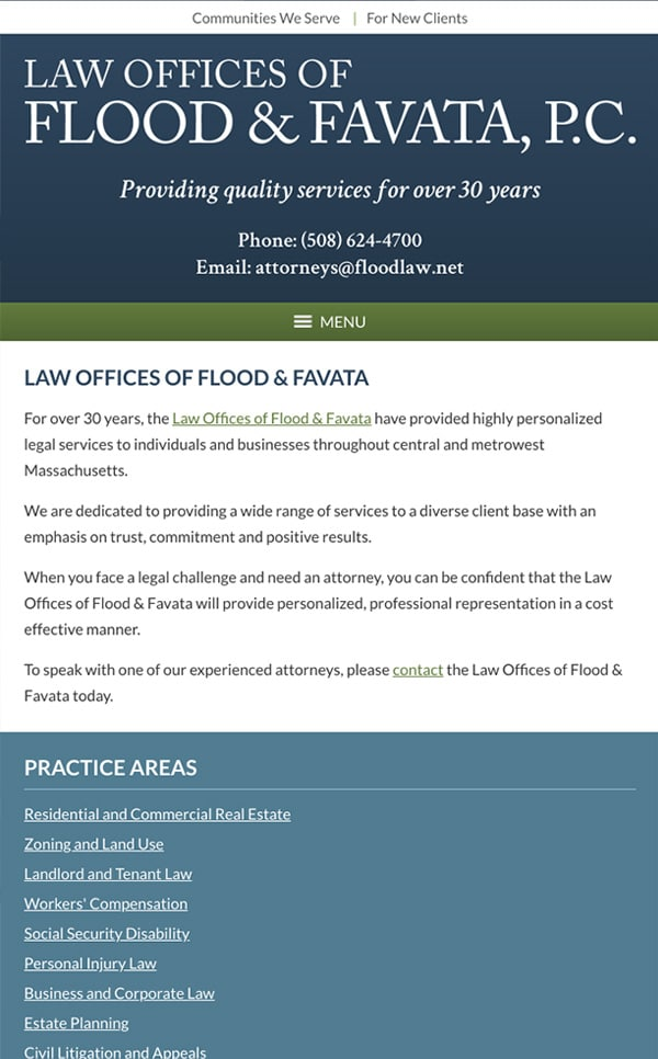 Mobile Friendly Law Firm Webiste for Law Offices of Flood & Favata