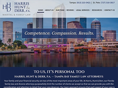 Law Firm Website design for Harris, Hunt & Derr, P.A.