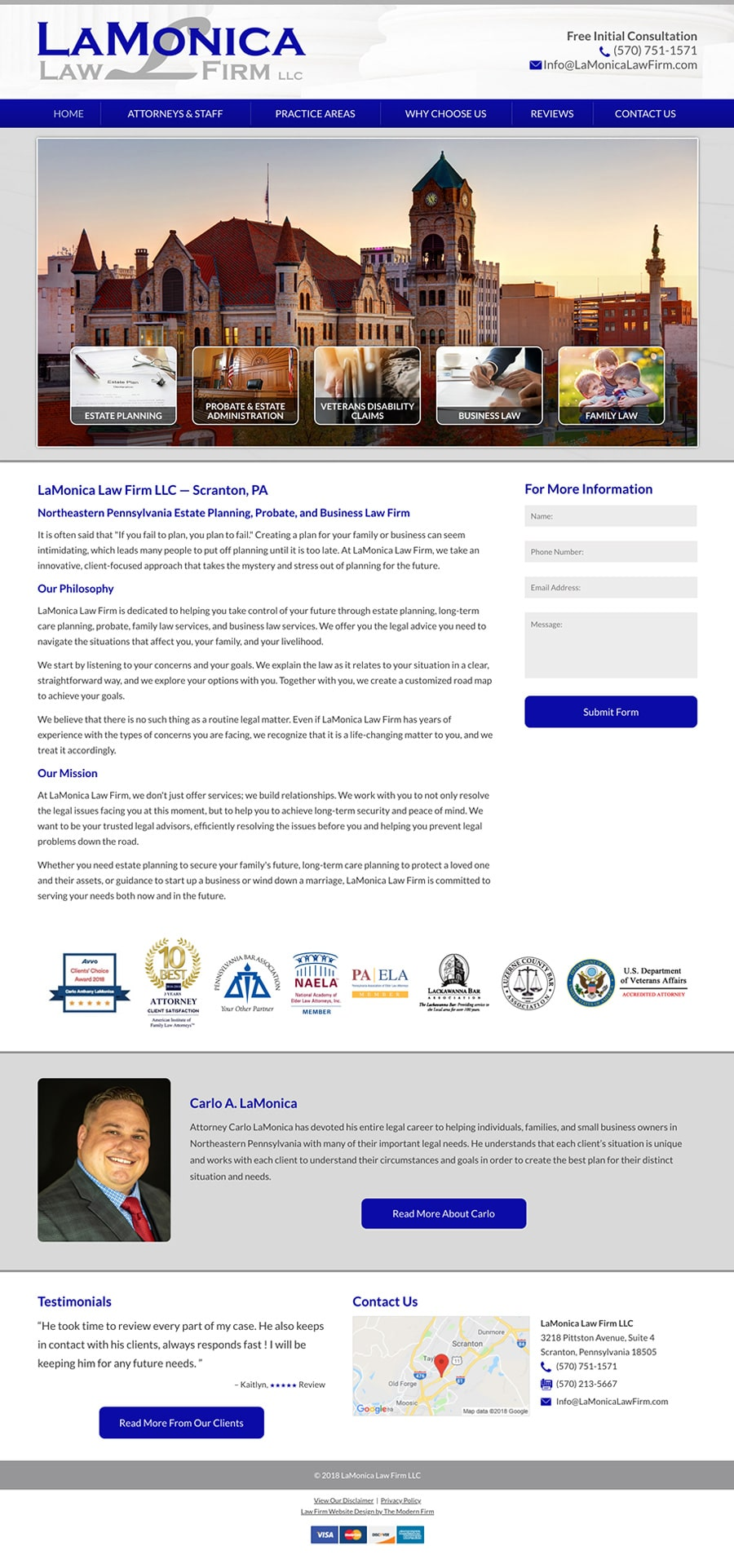 Scranton, PA Law Firm Website by The Modern Firm