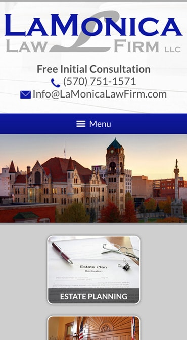 Responsive Mobile Attorney Website for LaMonica Law Firm LLC