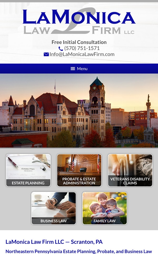 Mobile Friendly Law Firm Webiste for LaMonica Law Firm LLC