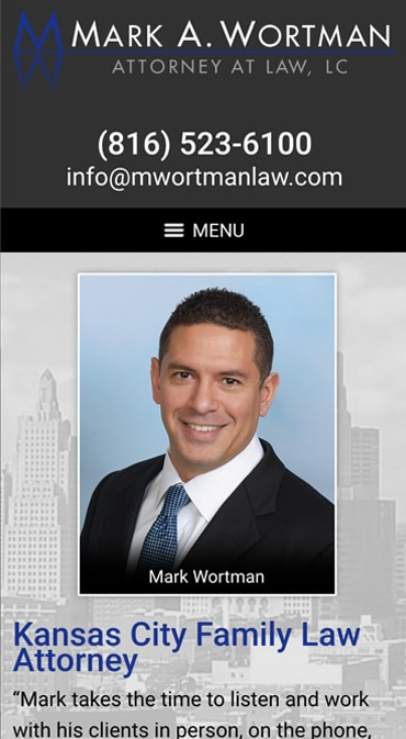 Responsive Mobile Attorney Website for Mark A. Wortman, Attorney at Law, LC