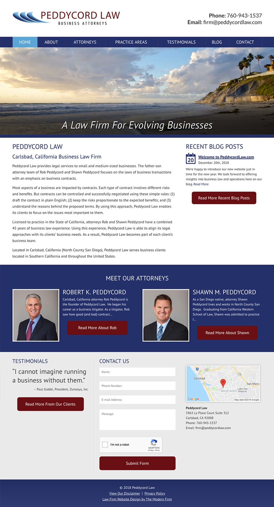 Law Firm Website Design for Peddycord Law