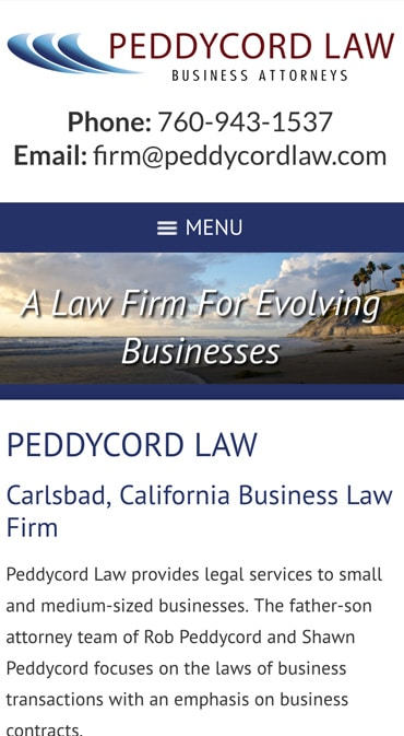 Responsive Mobile Attorney Website for Peddycord Law