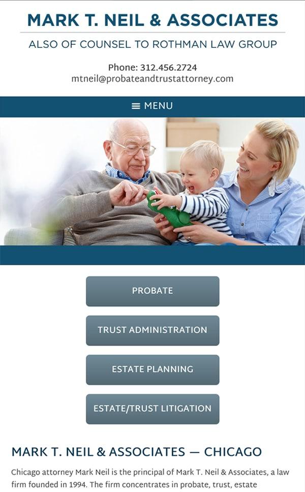Mobile Friendly Law Firm Webiste for Mark T. Neil & Associates