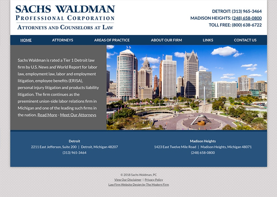 Law Firm Website for Sachs Waldman, P.C.