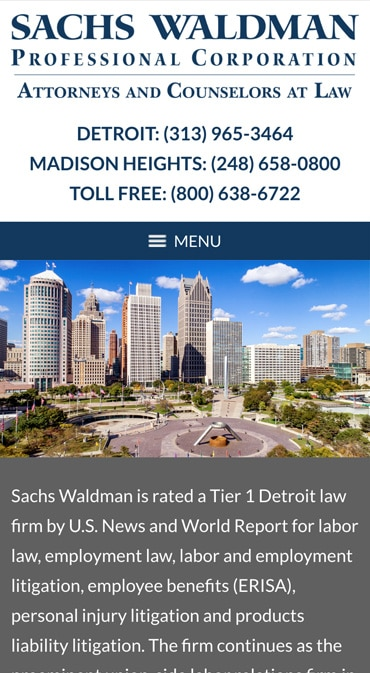Responsive Mobile Attorney Website for Sachs Waldman, P.C.
