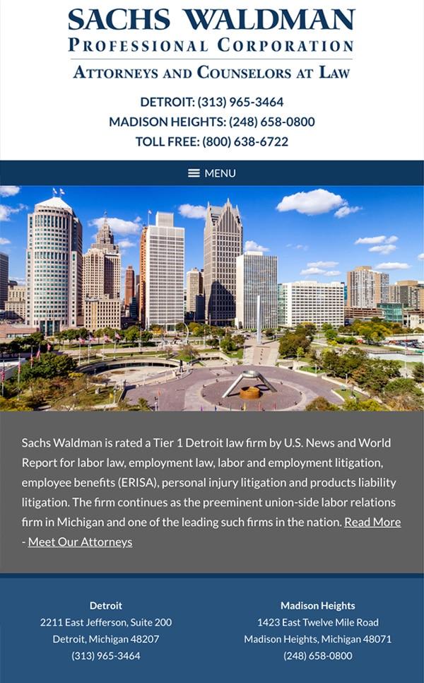 Mobile Friendly Law Firm Webiste for Sachs Waldman, P.C.