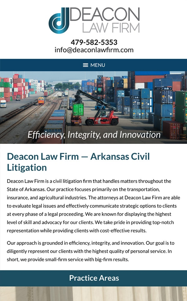 Mobile Friendly Law Firm Webiste for Deacon Law Firm, PA