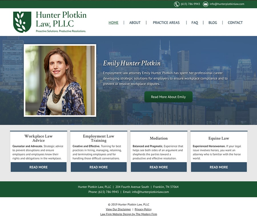 Law Firm Website for Hunter Plotkin Law, PLLC