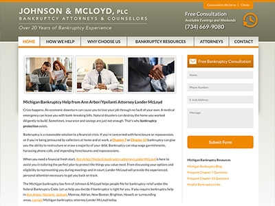 Law Firm Website design for Johnson & McLoyd, PLC