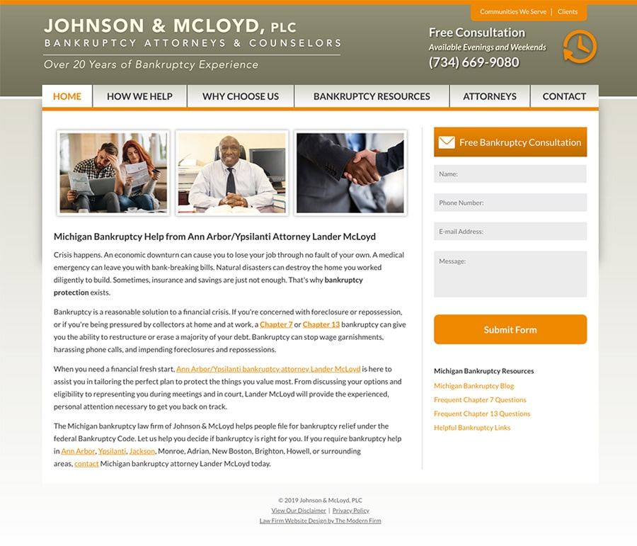 Law Firm Website for Johnson & McLoyd, PLC