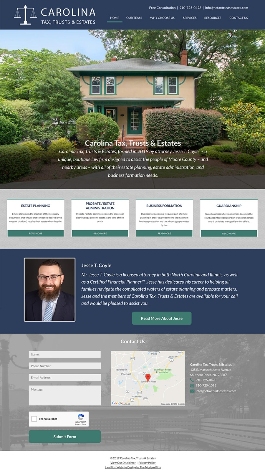 Law Firm Website for Carolina Tax, Trusts & Estates