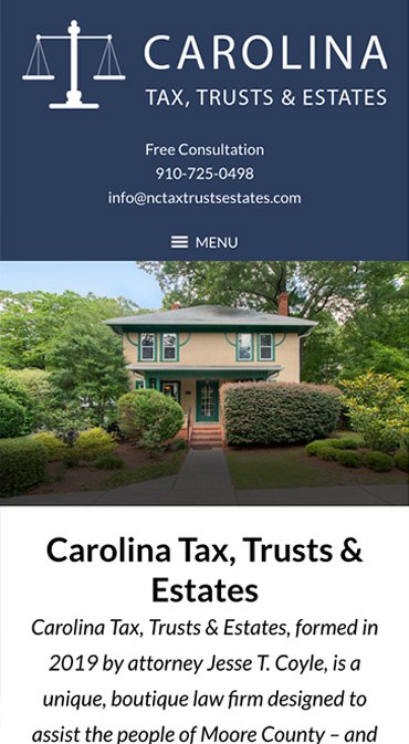 Responsive Mobile Attorney Website for Carolina Tax, Trusts & Estates