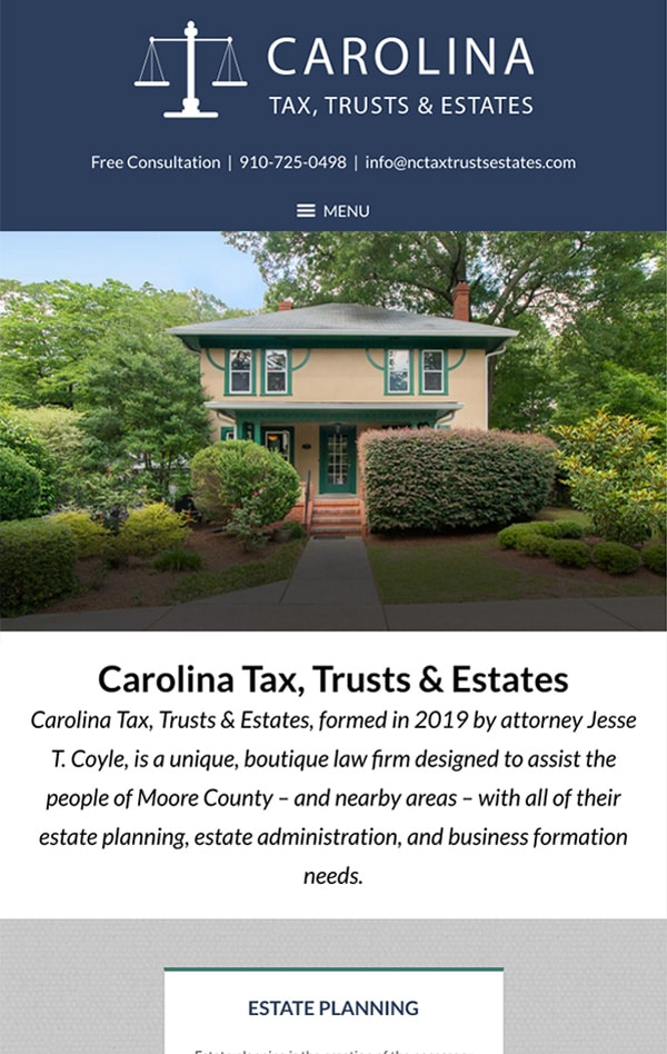 Mobile Friendly Law Firm Webiste for Carolina Tax, Trusts & Estates