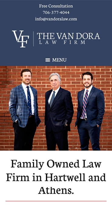Responsive Mobile Attorney Website for The Van Dora Law Firm