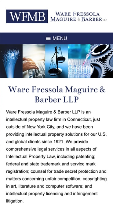 Responsive Mobile Attorney Website for Ware Fressola Maguire & Barber LLP