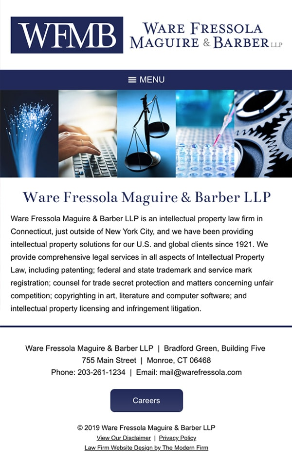 Mobile Friendly Law Firm Webiste for Ware Fressola Maguire & Barber LLP