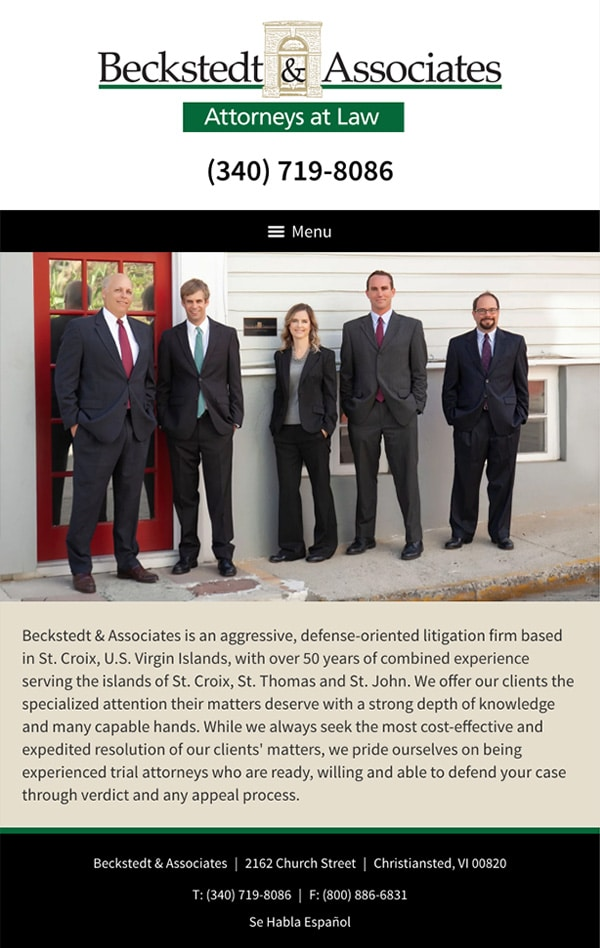 Mobile Friendly Law Firm Webiste for Beckstedt & Associates