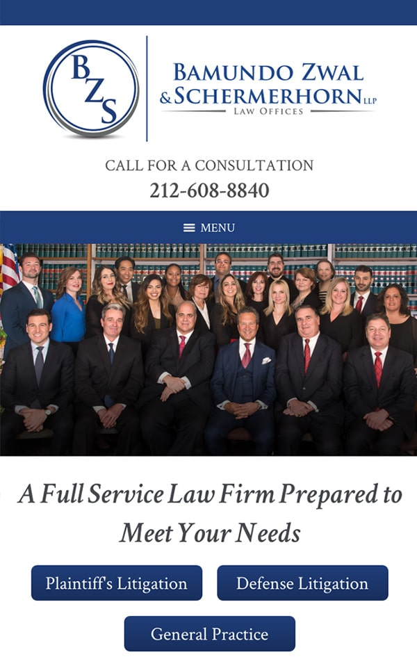 Mobile Friendly Law Firm Webiste for Bamundo Zwal & Schermerhorn LLP