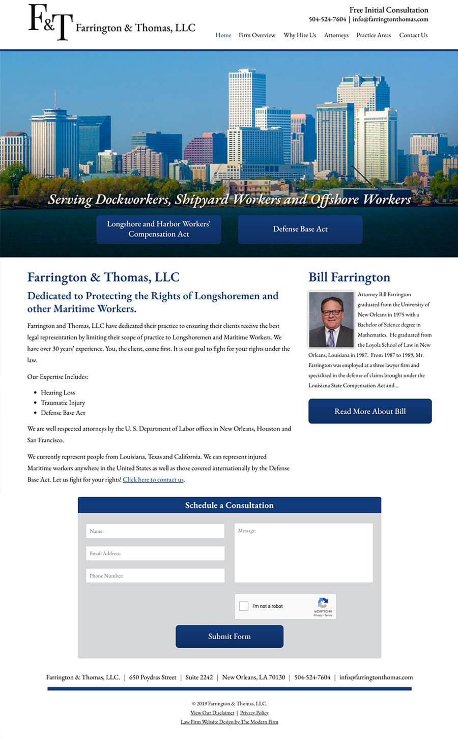 Law Firm Website Design for Farrington & Thomas, LLC.