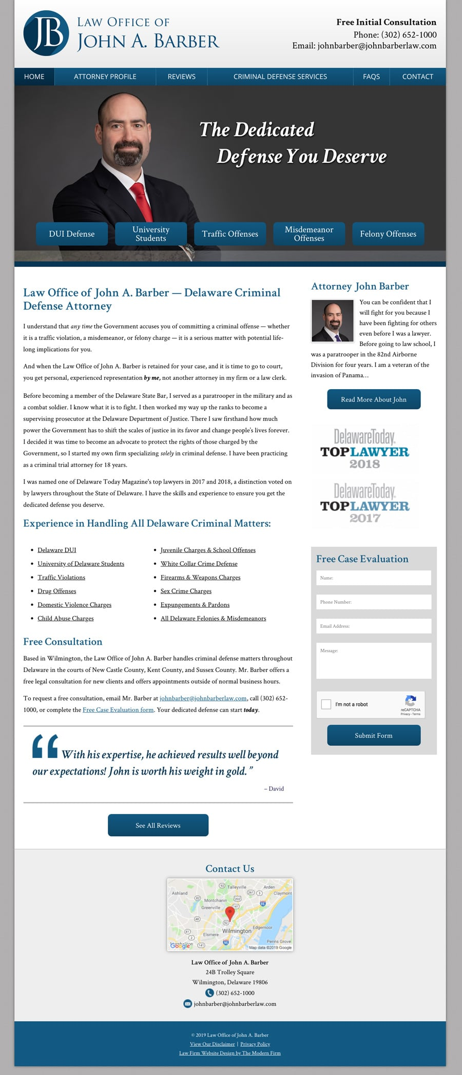 Law Firm Website for Law Office of John A. Barber