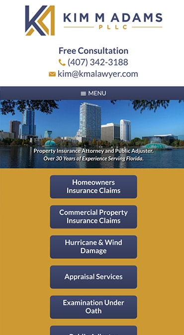 Responsive Mobile Attorney Website for Kim M Adams PLLC