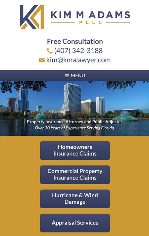 Mobile Friendly Law Firm Webiste for Kim M Adams PLLC
