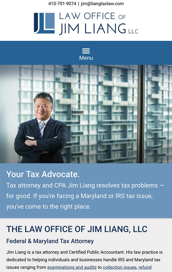 Mobile Friendly Law Firm Webiste for Law Office of Jim Liang, LLC