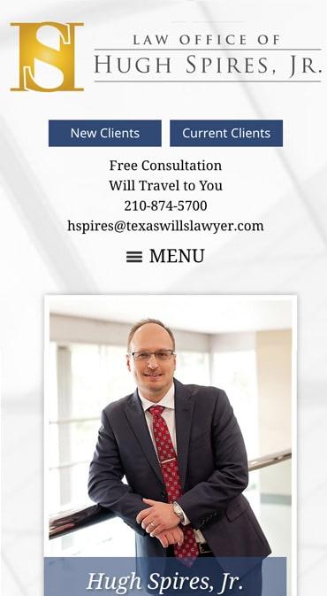 Responsive Mobile Attorney Website for Law Office of Hugh Spires, Jr. PLLC