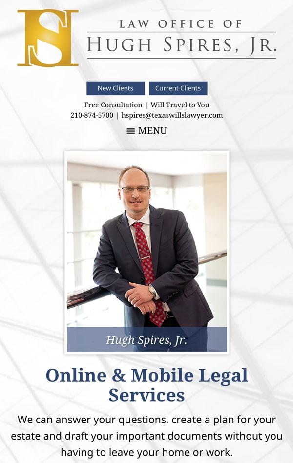 Mobile Friendly Law Firm Webiste for Law Office of Hugh Spires, Jr. PLLC