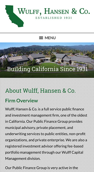 Responsive Mobile Attorney Website for Wulff, Hansen & Co.