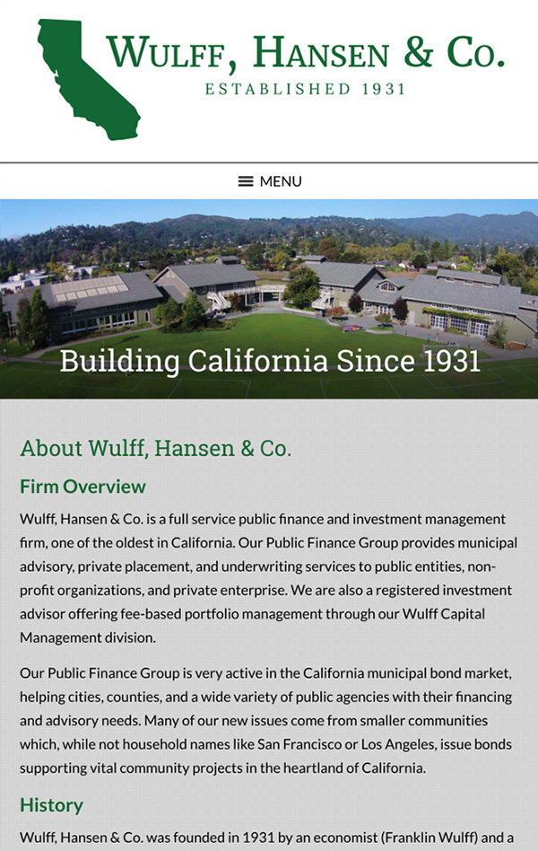 Mobile Friendly Law Firm Webiste for Wulff, Hansen & Co.