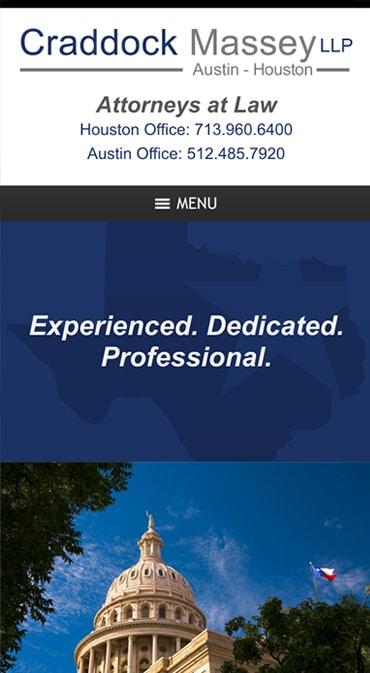 Responsive Mobile Attorney Website for Craddock Massey LLP